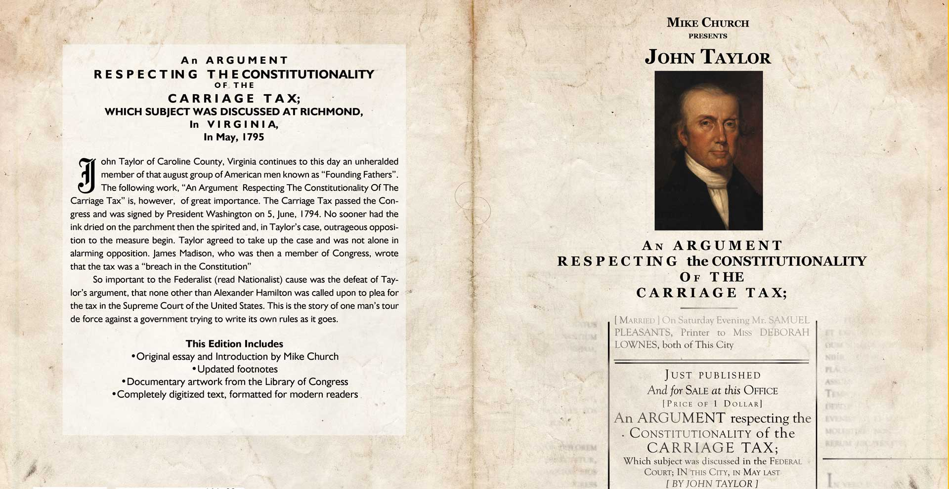 John Taylor of Caroline's Argument Against The Carriage Tax eBook And Audiobook!