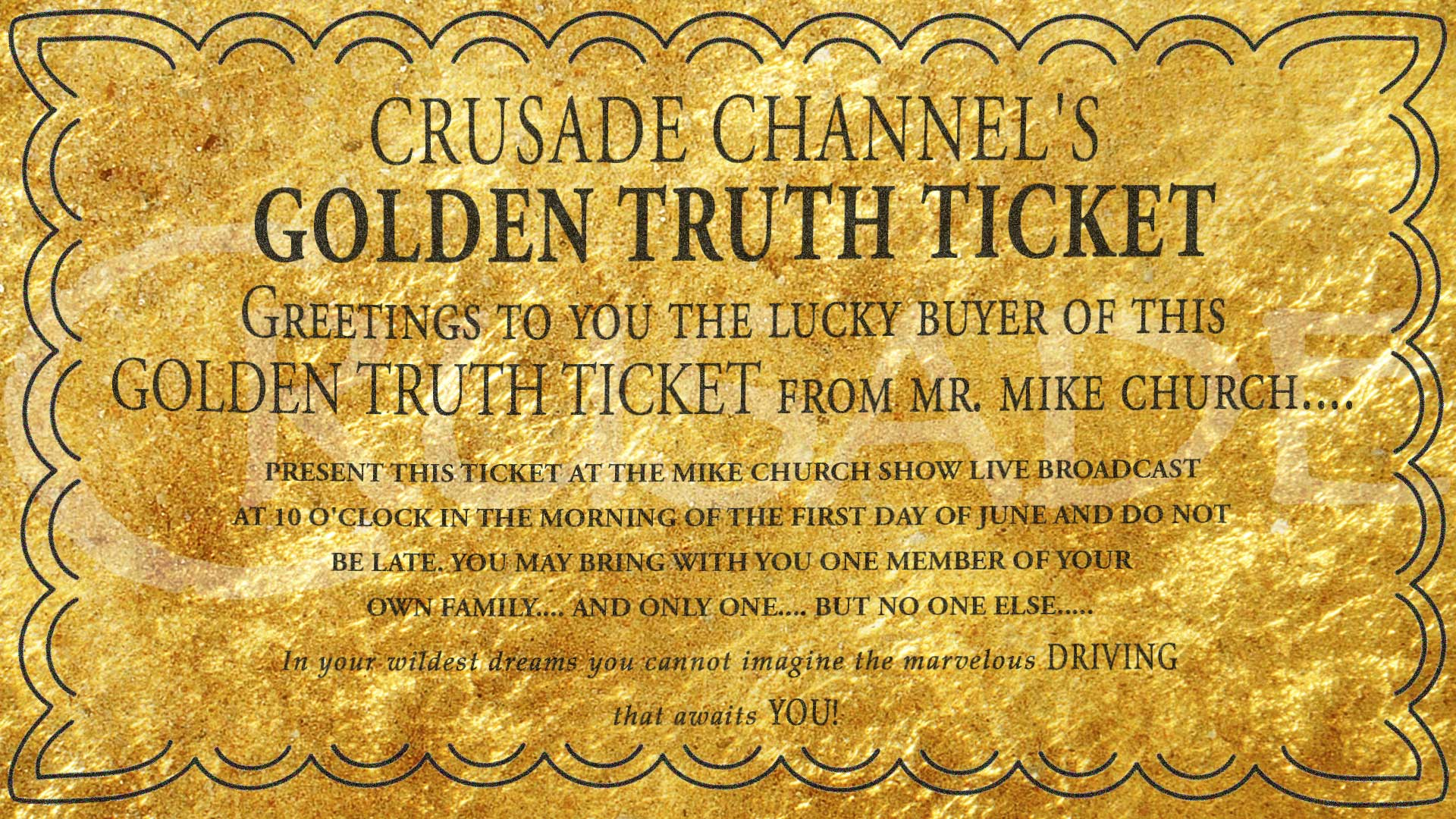 Announcing The 2nd Annual Great Golden Truth Ticket, Car Giveaway!