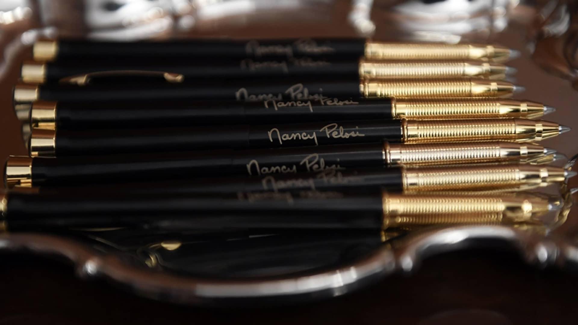 "Nervous Nancy Pelosi's Hubris ""With These 40 Solemn, Somber, Souvenir, Signature Pens... I Thee Sham!"""